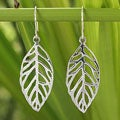 Handcrafted Sterling Silver 'New Leaf' Earrings (Thailand)