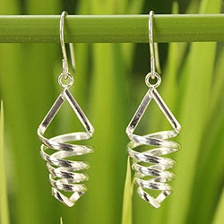 Handcrafted Sterling Silver 'Love Tornado' Earrings (Thailand)