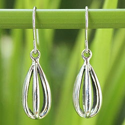 Handcrafted Sterling Silver 'Birdcage' Earrings (Thailand)