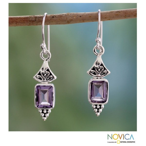 Sterling Silver 'Lilac Lantern' Amethyst Earrings (India)
