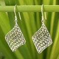 Handcrafted Sterling Silver 'Love Net' Earrings (Thailand)
