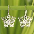Handcrafted Sterling Silver 'Butterfly Splendor' Earrings (Thailand)