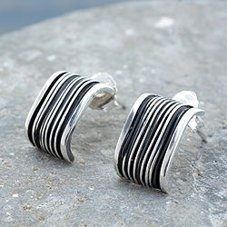 Handcrafted Sterling Silver 'Urban Taxco' Earrings (Mexico)