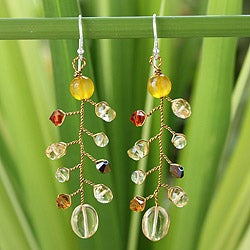 Handcrafted Sterling Silver 'Thai Soul' Citrine Earrings (Thailand)