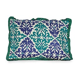 Handcrafted Polyester 'Cool Flames' Embroidered Cushion Cover (India)