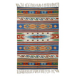 Handcrafted Wool 'Blue Moods' Rug (4x6) (India)