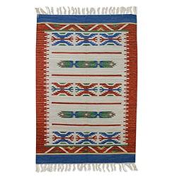 Handcrafted Wool 'Geometric Revelation' Rug (4x6) (India)