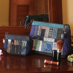Set of 2 Cotton and Hemp 'Ethnic Blue' Cosmetic Bags (Thailand)