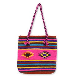 Handcrafted Wool 'Zapotec Fiesta' Medium Tote Bag (Mexico)