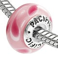 Sterling Silver 'Watermelon Tango' Murano Style Glass Bead