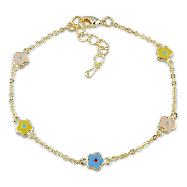 M by Miadora 18k Gold Plated Children's Colorful Charm Bracelet
