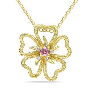 Haylee Jewels Yellow Plated Silver 1/10ct TDW Pink and White Diamond Necklace