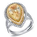 Auriya 14k Gold 4 1/4ct TDW Fancy Yellow Diamond Pear Halo Ring (G-H, SI1-SI2)