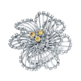 Auriya 14k White Gold 1 1/3ct TDW Diamond Flower Cocktail Ring (G-H, SI1-SI2)