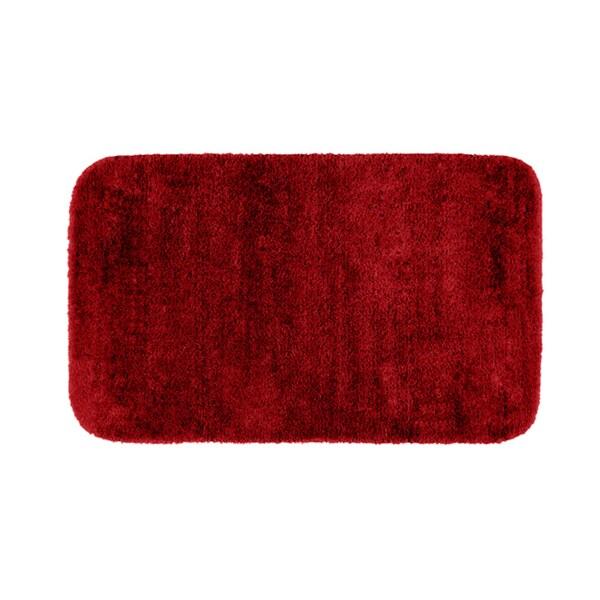 plush deluxe cinnabar red washable 30 x 50 bath rug
