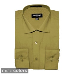 Ferrecci Men's Long-Sleeve Slim-Fit Collared Dress Shirt