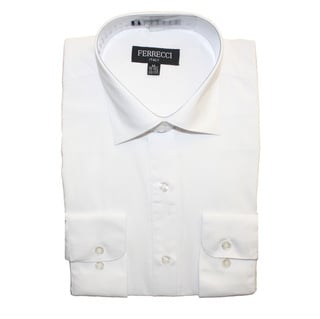 Ferrecci Men's Slim Fit White Collared Formal Shirt
