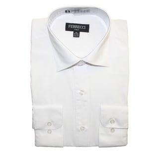 Ferrecci Men's Slim Fit White Collared Formal Shirt