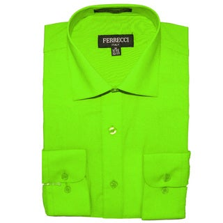 Ferrecci Men's Slim Fit Lime Green Collared Formal Shirt