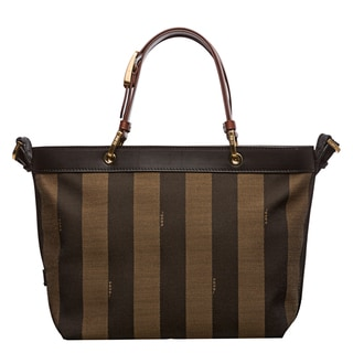 Fendi 'Pequin' Tobacco Striped Framed Top Tote