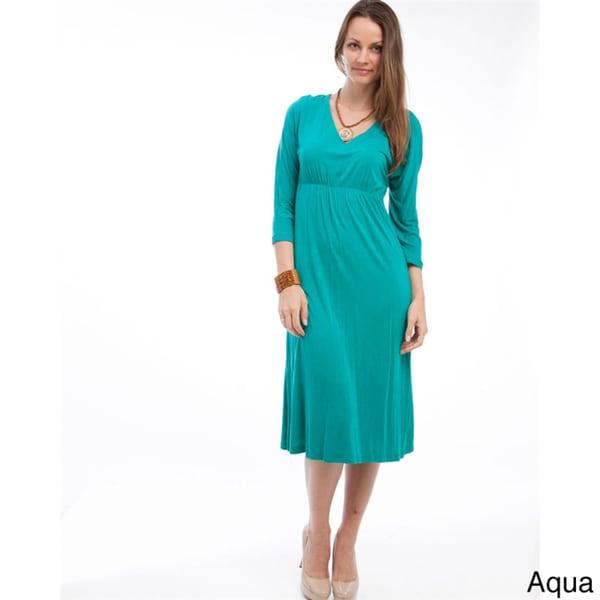 Stanzino Women's 3/4 Sleeve Empire Waist Dress - 15339881 ...