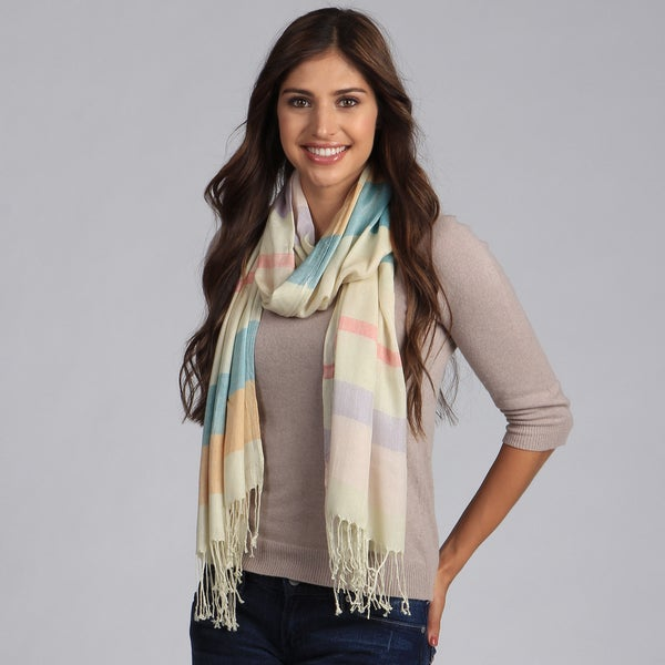 Women's Pastel Stripe Print Shawl
