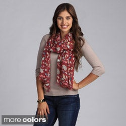 Women's Blue and Strawberry Floral Print Scarf