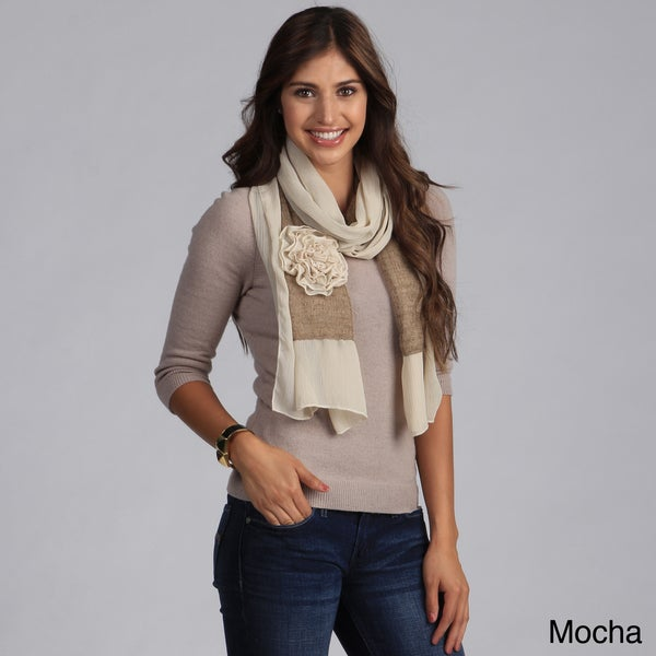 Women's Floral Applique Chiffon and Knit Scarf