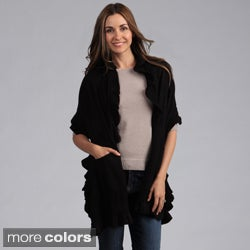 Women's Open Front Ruffled Shawl with Pockets
