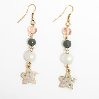 Handmade Enamel Charm Earrings with Glass Beads (India)
