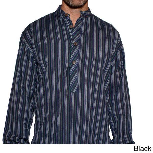 Cotton Beach Love Men's Stripe Shirt (Nepal)