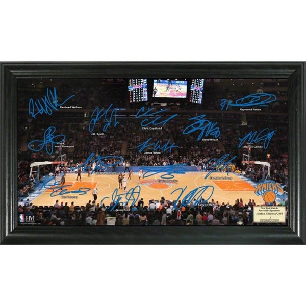 New York Knicks Framed Court Photo with Signatures