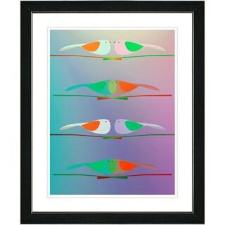 Studio Works Modern 'Morning Birds - Green' Framed Print