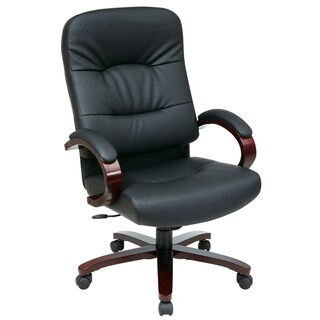 Office Star Products Work Smart Black Eco Leather High Contour Executive Chair