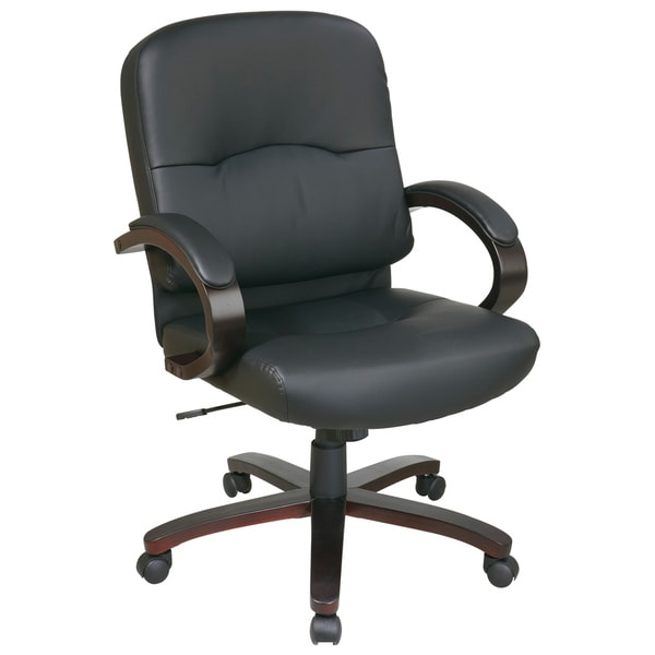 Office Star Products Work Smart Black Eco Leather Executive Chair