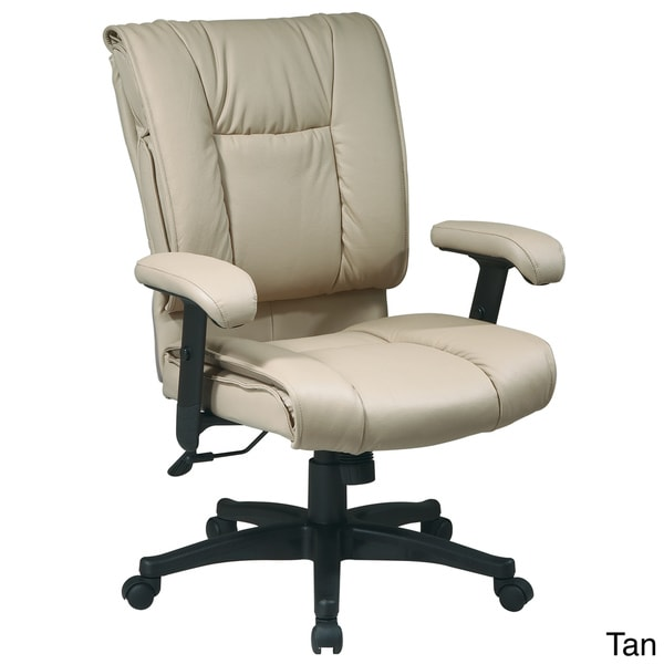 Office Star Products Work Smart Mid Back Deluxe Coated Leather Executive Chair