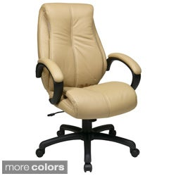 Office Star Products Work Smart High Back Deluxe Coated Leather Executive Chair