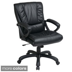 Office Star Products Work Smart Mid-back Deluxe Coated Leather Executive Chair