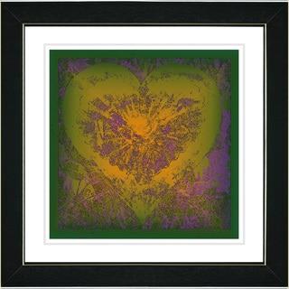 Studio Works Modern 'Filigree Heart - Yellow' Framed Print