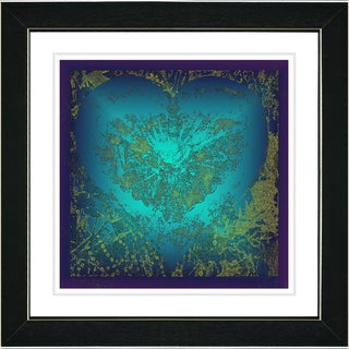 Studio Works Modern 'Filigree Heart - Blue' Framed Print