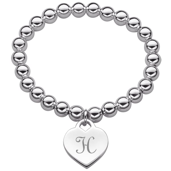 Silverplated Heart Initial Charm and Bead Stretch Bracelet 11068527