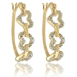 Finesque 18k Gold Overlay Diamond Accent Linked Hearts Hoop Earrings