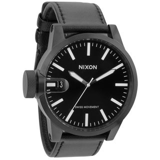 Nixon Men's 'Chronicle' Black Leather Strap Watch