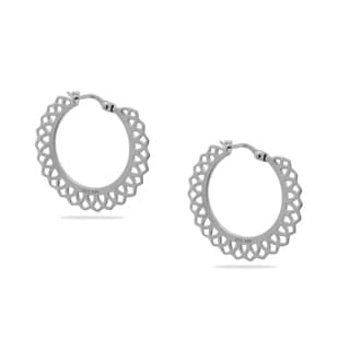Gioelli Sterling Silver Lace Trimed Hoop Earrings