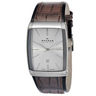 Skagen Men's Brown Silver-Tone Rectangle Watch