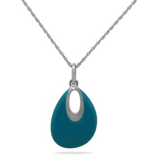 Michelle Lee Sterling Silver Turquoise Enamel Teardrop Necklace