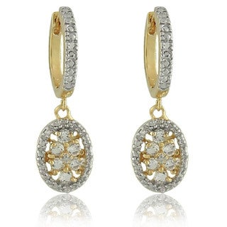Dolce Giavonna 18k Gold over Silver White Topaz and Diamond Accent Earrings