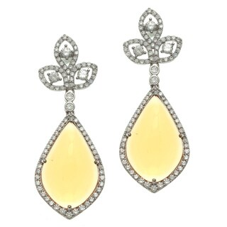 Sterling Silver Simulated Citrine and Cubic Zirconia Dangle Earrings