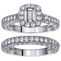 14k White Gold 3ct TDW Emerald-cut Diamond Bridal Ring Set (F-G, SI1-SI2)