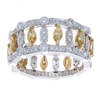 14k Gold 1 5/8ct TDW White and Yellow Diamond Pave Band (I-J, I1-I2)